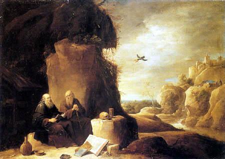 David Teniers le Jeune - Saint Paul l'hermite rendu visite par Saint Anthony dans le désert