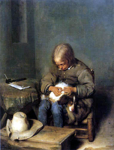 Gerard Terborch (Ter Borch) - Boy with his dog