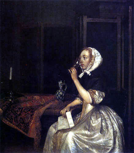 Gerard Terborch (Ter Borch) - Drinking woman with a letter