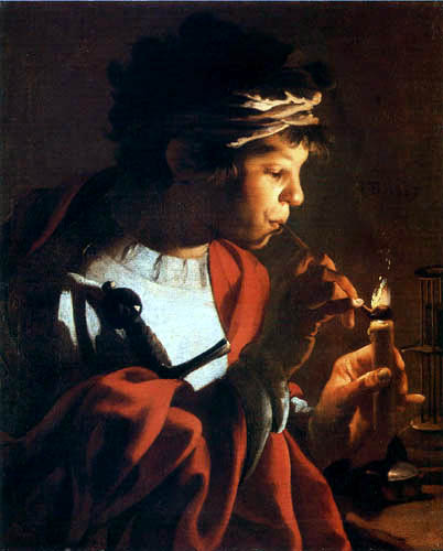 Hendrick Terbrugghen (Ter Brugghen) - Pfeiferauchender junger Mann