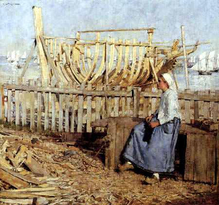 Henry Herbert La Thangue - French shipyard