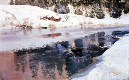 Frits (Johan Frederik) Thaulow - Invierno en Simoa