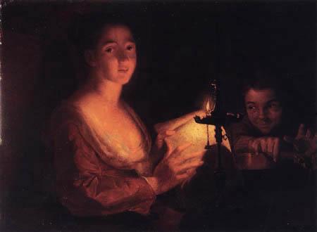 Anna Dorothea Therbusch - Liszewska (Lisiewski, Liesiewka) - Music lesson by candlelight
