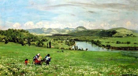 Hans Thoma - The Rhine near Saeckingen
