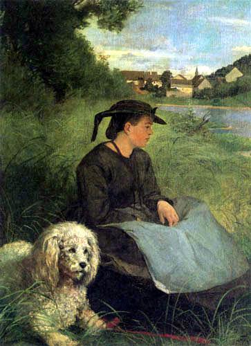 Hans Thoma - Agathe mit weißem Hund
