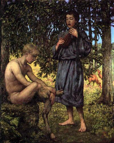Hans Thoma - Faun im Wald