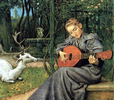 Hans Thoma - The lute player