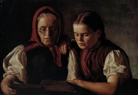 Hans Thoma - Reading the Bible