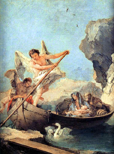 Giambattista (Giovanni Battista) Tiepolo - Die Flucht nach Ägypten im Boot