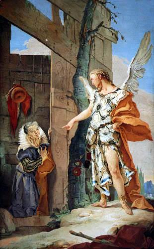 Giambattista (Giovanni Battista) Tiepolo - The Angel appears Sarah