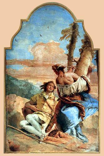 Giambattista (Giovanni Battista) Tiepolo - Angelika schnitzt den Namen Medor in einen Baum