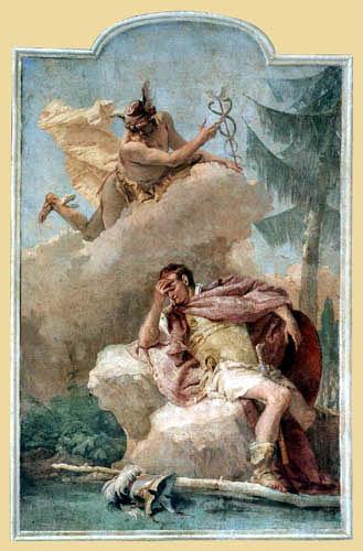 Giambattista (Giovanni Battista) Tiepolo - Merkur erscheint Äneas