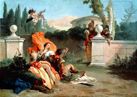 Giambattista (Giovanni Battista) Tiepolo - Rinaldo und Armida werden von Ubaldo überrascht