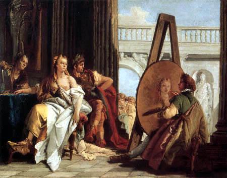 Giambattista (Giovanni Battista) Tiepolo - Apelles malt Kampaspe im Beisein von Alexander dem Großen