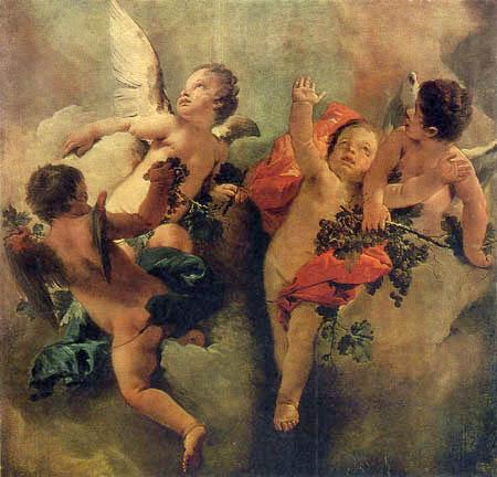 Giambattista (Giovanni Battista) Tiepolo - Putten mit Weintrauben