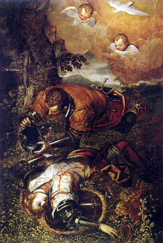 Domenico Robusti Tintoretto - Tancred tauft Clorinda