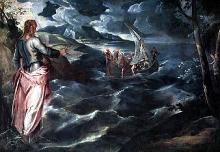 Tintoretto (Jacopo Robusti) - Christus am See Genezareth