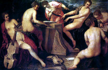Tintoretto (Jacopo Robusti) - Musizierende Nymphen