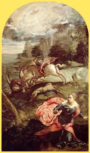 Tintoretto (Jacopo Robusti) - Der hl. Georg tötet den Drachen