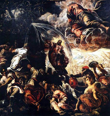 Tintoretto (Jacopo Robusti) - Moses läßt Wasser aus dem Felsen fließen