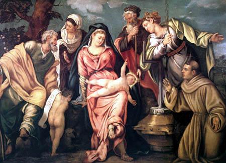Tintoretto (Jacopo Robusti) - Maria mit Kind und Heiligen