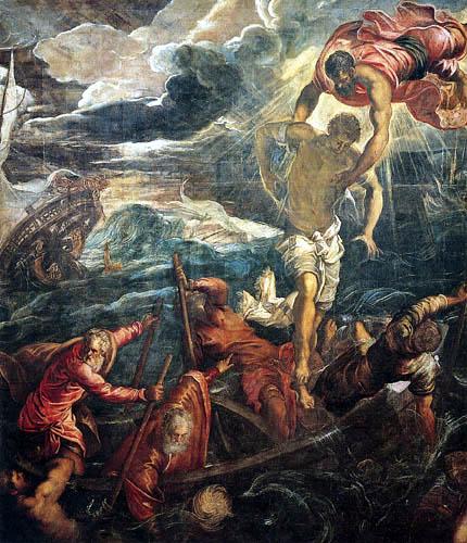 Tintoretto (Jacopo Robusti) - Der Heilige Marko rettet ein Boot in einem Sturm