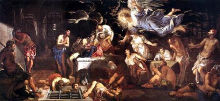 Tintoretto (Jacopo Robusti) - Der hl. Rocco im Gefängnis