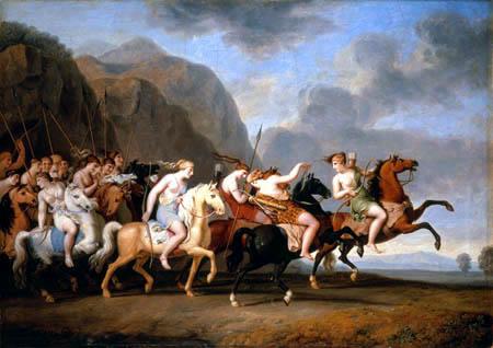 J. Heinrich Wilhelm Tischbein - Amazonas salen a caballo