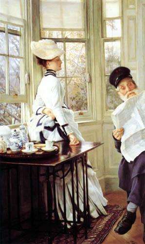 James (Jacques-Joseph) Tissot - Reading a Newspaper