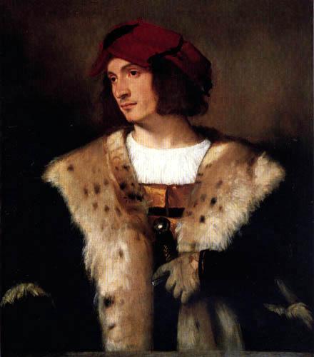 Tizian (Tiziano Vecellio) - Porträt eines Mannes mit roter Kappe
