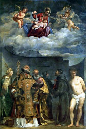 Tizian (Tiziano Vecellio) - Madonna mit dem Kind und Heiligen