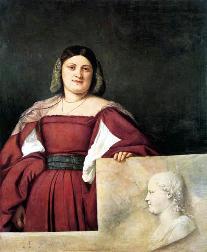 Tizian (Tiziano Vecellio) - Bildnis einer Frau