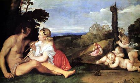 Tizian (Tiziano Vecellio) - Allegorie der drei Lebensalter