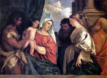 Tizian (Tiziano Vecellio) - Maria mit dem Kinde und Heiligen