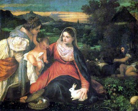 Tizian (Tiziano Vecellio) - Madonna mit Kind und Kaninchen