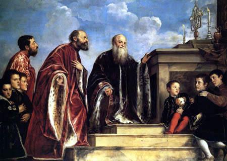 Tizian (Tiziano Vecellio) - Votivbild der Familie Vendramin