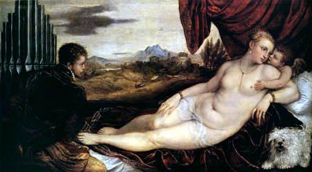 Tizian (Tiziano Vecellio) - Venus mit dem Orgelspieler