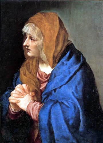 Tizian (Tiziano Vecellio) - Mater dolorosa mit gefalteten Händen