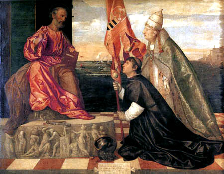 Tizian (Tiziano Vecellio) - Jacopo Pesaro und der hl. Petrus