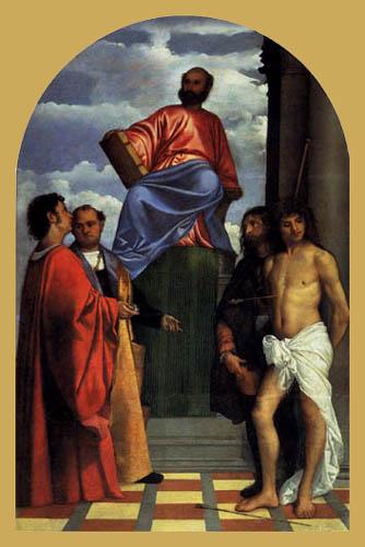 Tizian (Tiziano Vecellio) - Die Hll. Markus, Cosmas, Damian, Sebastian, Rochus