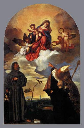 Tizian (Tiziano Vecellio) - Die Madonna mit Heiligen