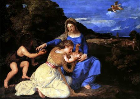 Tizian (Tiziano Vecellio) - Die Madonna mit der hl. Katharina und Johannes