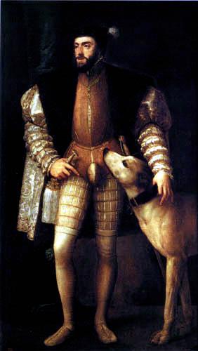 Tizian (Tiziano Vecellio) - Karl V. mit Hund