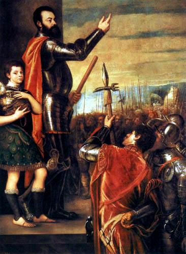 Tizian (Tiziano Vecellio) - Die Ansprache Herzogs von Avalos an die Truppen
