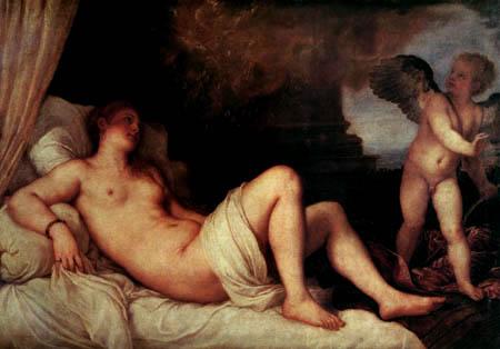 Tizian (Tiziano Vecellio) - Danaé mit Cupido