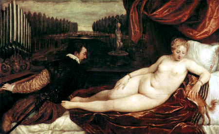 Titian (Tiziano Vecellio) - Venus with the Organ Player and a Dog
