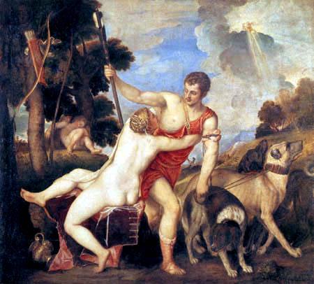 Tizian (Tiziano Vecellio) - Venus und Adonis
