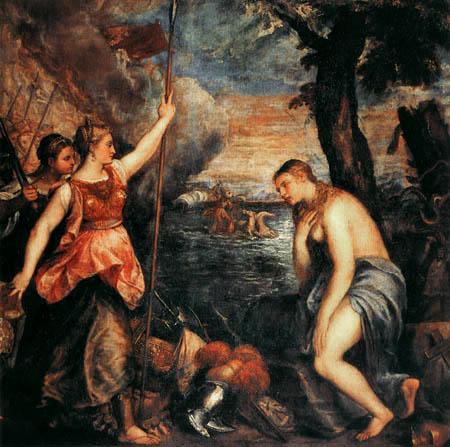 Tizian (Tiziano Vecellio) - Spanien eilt der Religion zur Hilfe