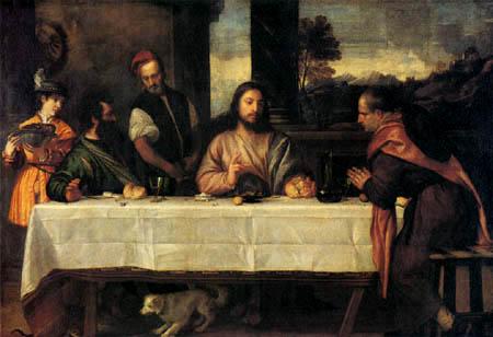 Tizian (Tiziano Vecellio) - Das Mahl in Emmaus