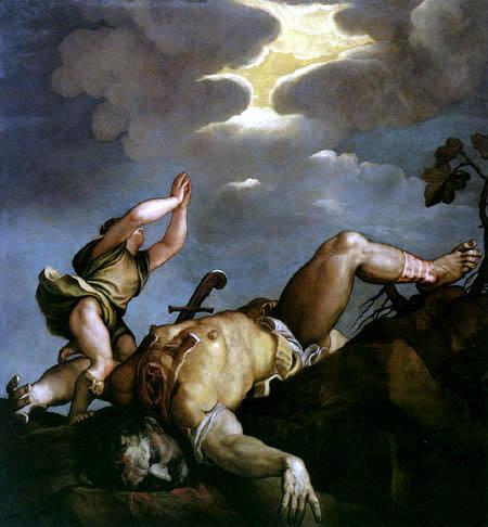 Tizian (Tiziano Vecellio) - David und Goliath